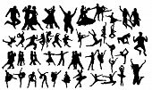 Detailed Vector Illustration Silhouettes Of Expressive Dance People Dancing. Jazz Funk, Hip-hop, Hou poster