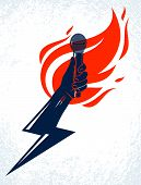 Microphone In Hand On Fire And Lightning, Hot Mic In Flames And Bolt, Rap Battle Rhymes Music, Conce poster