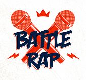 Rap Battle Vector Logo Or Emblem With Two Microphones Crossed, Hip Hop Hot Rhymes Music Mic In A Fla poster