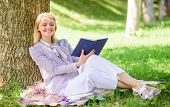 Business Lady Find Minute To Read Book Improve Her Knowledge. Self Improvement And Education Concept poster