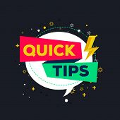 Quick Tips Flat Vector Illustration On Black Background 13.ai poster
