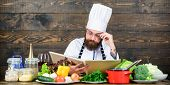 Vegetarian Recipe. Experienced Chef Cooking Excellent Dish. This Recipe Is Just Perfect. Man Bearded poster