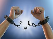 Breaking Free, A Man Breaking Chains, Shackles To Freedom, 3d Render Illustration poster