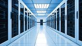 Modern Server Room Interior In Datacenter, Web Network And Internet Telecommunication Technology, Bi poster