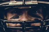 Portrait Close-up, American Football Player, Bearded In Helmet. Concept American Football, Patriotis poster