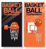 Basketball Tournament Set Of Banners Vector Illustration. Throwing Ball Into Basket Or Hoop. Active  poster