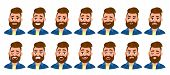 Set Of Male Character With Different Emotions. Bearded Mans Various Collection Of Facial Expression poster