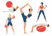 Set Of Women Training Bodies In Gym. Girls Exercising With Ball, Lifting Weights, Doing Yoga. Sport  poster