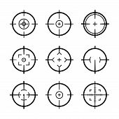 Target Aim Icons Military Set. Crosshair Target Weapon Sniper Army Sight For Gun Or Rifle poster