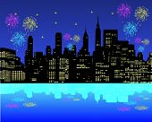 foto of new york skyline  - New York City Manhattan Independence Day firework show in Hudson River as traditional event to celebrate the birth of United States - JPG
