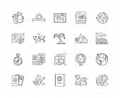 Geography Line Icons, Signs, Vector Set, Outline Illustration Concept poster