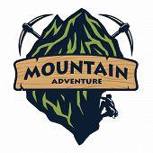 Logo For Mountain Climbing, Adventure, Camping, Expedition. Vector Logo And Labels, Icon Template De poster