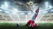 Professional Soccer Player Celebrates Winning The Open Stadium. Soccer Player Holds A Trophy. Medal  poster