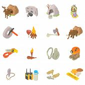 Cave Exploration Icons Set. Isometric Set Of Cave Exploration Vector Icons For Web Isolated On White poster
