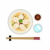 Hot Wonton Soup With Chilli Sauce, Chopstick And A Glass Of Water. poster