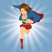Illustration Of Female Superhero Running Forward With Red Cape poster