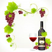 stock photo of creeper  - illustration of red grape with bottle of red wine and glass full of wine with copy space - JPG