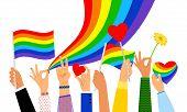 Lgbt Hands. Hand Holding Pride Flag Or Transgender Sign Isolated On White Background, Vector Illustr poster