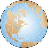 image of longitude  - Globe illustration focusing on North America with lines of latitude and longitude - JPG
