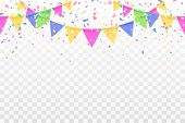 Beautiful Pattern Colorful Flags Garland And Confetti. Carnival Garland With Pennants For Birthday C poster