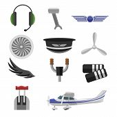 Set Of Aviation Icons. Small Aviation Symbols And Elements Flat Design poster