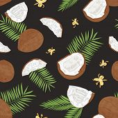 Natural Seamless Pattern With Whole And Split Coconuts, Flowers And Exotic Palm Leaves On Black Back poster