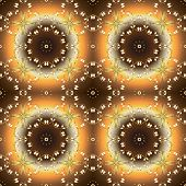 Seamless Pattern On Yellow And Brown Colors With Golden Elements. Seamless Classic Vector Golden Pat poster
