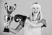 Celebrate Victory. Boxing Champion. Athletic Girl Boxing Glove And Golden Goblet. Woman Wear Sport O poster