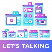 Set Vector Illustration Of A Social Media Communication Concept. Social Media With Colorful Cross-pl poster