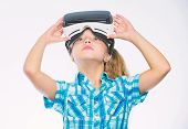 Happy Kid Use Modern Technology Virtual Reality. Get Virtual Experience. Girl Cute Child With Head M poster