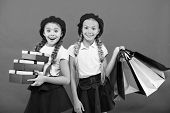 Big Sale In Shopping Mall. Small Girl Children With Shopping Bags. Birthday And Christmas Presents.  poster