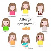 Allergy Symptoms, Vector Flat Style Design Isolated Illustration poster