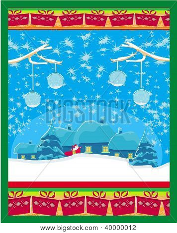 Tarjeta de feliz año nuevo con Santa y paisaje de invierno