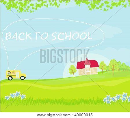 Autobús rumbo a la escuela con niños felices