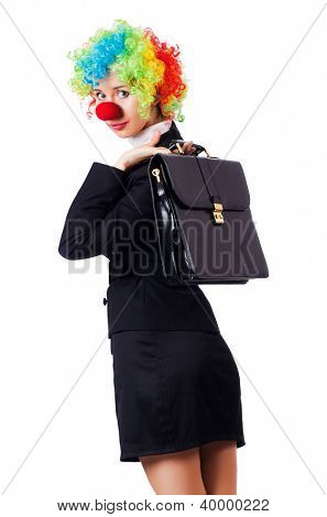Businesswoman in clown costume on white