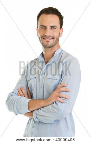 Casual Young Man Standing With Arm Crossed Isolated on White Background