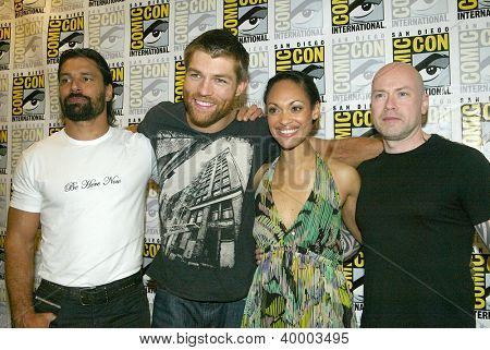 SAN DIEGO, CA - JULY 13: Manu Bennett, Liam McIntyre, Cynthia  Addai-Robinson & Steven S. DeKnight arrive at the 2012 Comic Con  convention press room on July 13, 2012 in San Diego, CA.