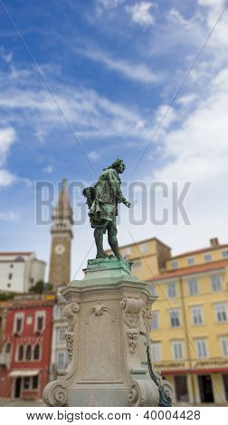 Giuseppe Tartini Statue In Tartini Square, The Largest And Main Square In The Town Of Piran, Sloveni