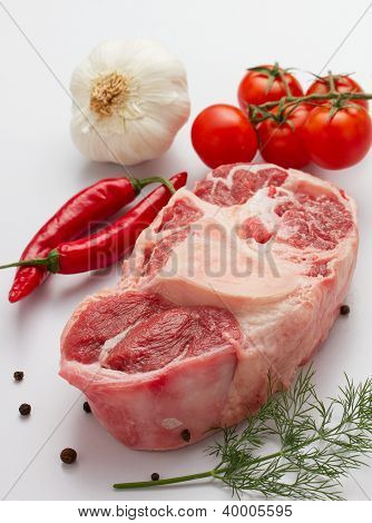 Raw oxtail with ingredients