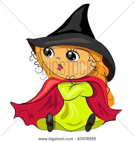 bruxa de Halloween em imagem vetorial de chapéu preto