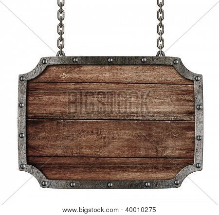 medieval signboard with chains isolated on white