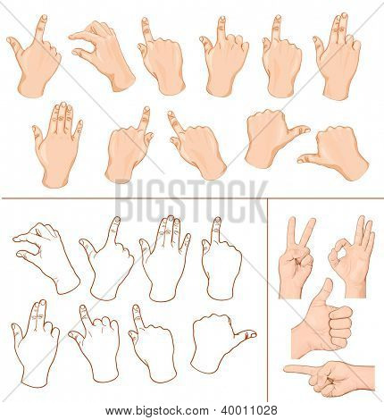 Set of commonly used multitouch gestures for tablets or smartphone and hand with business signs. Illustration. Rasterized vector  ID: 119442955