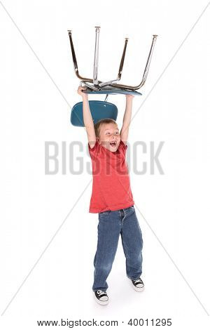 Wild Boy holding a chair over his head