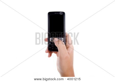 Woman Hand Holding Mobile Phone Isolated On White Background