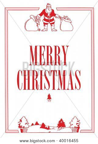 Vector Santa Vintage Fram. Easy to edit. Perfect for invitations or announcements. e