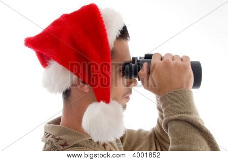 Young Guy With Binoculars