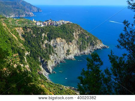 Corniglia town of Cinque Terre National Park at calm sunny day, Italy