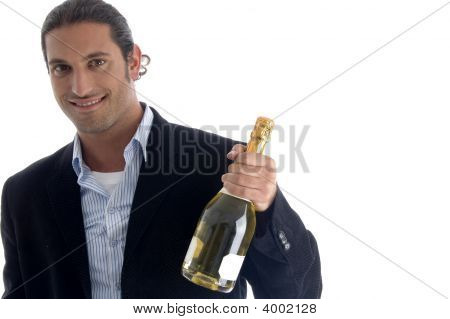 Young American Businessman Holding Wine Bottle
