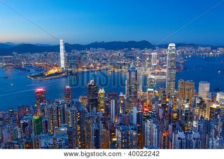 Hong Kong Island, Victoria Harbour at night