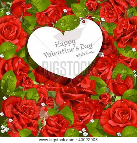 Valentine's Day card  red roses background